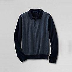 Lands' End - Black men's fine gauge jacquard polo sweater
