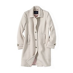 Lands' End - White women's basket-weave wool car coat
