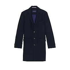 Lands' End - Blue men's wool peak lapel topcoat