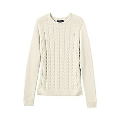 Lands' End - White women's drifter mixed stitch crew neck