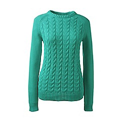 Lands' End - Green regular drifter mixed stitch crew neck