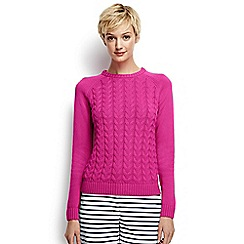 Lands' End - Bright purple regular drifter mixed stitch crew neck