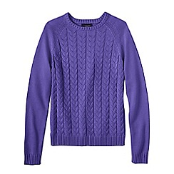 Lands' End - Purple women's drifter mixed stitch crew neck