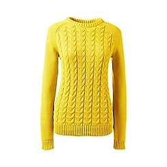 Lands' End - Yellow regular drifter mixed stitch crew neck
