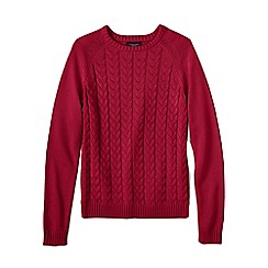 Lands' End - Red women's drifter mixed stitch crew neck