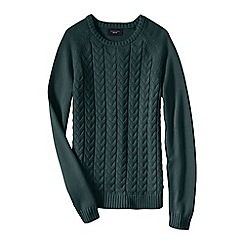 Lands' End - Green women's drifter mixed stitch crew neck