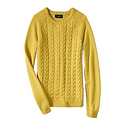 Lands' End - Gold women's drifter mixed stitch crew neck