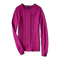 Lands' End - Pink petite drifter mixed stitch crew neck