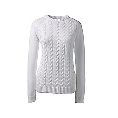 Lands' End - White petite drifter mixed stitch crew neck