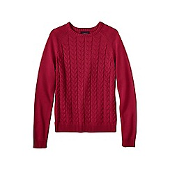 Lands' End - Red plus drifter cable crew neck jumper