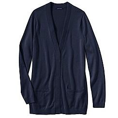 Lands' End - Blue petite fine gauge cotton open cardigan