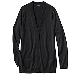 Lands' End - Black women's fine gauge cotton open cardigan
