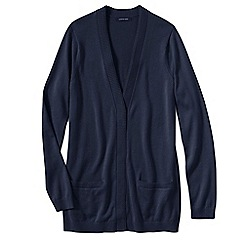 Lands' End - Blue women's fine gauge cotton open cardigan