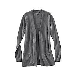 Lands' End - Grey women's fine gauge cotton open cardigan