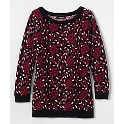 Lands' End - Red supima®three-quarter sleeve floral jacquard crew