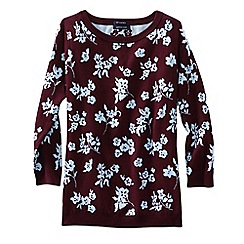 Lands' End - Red women's supima three-quarter sleeve floral jacquard crew neck