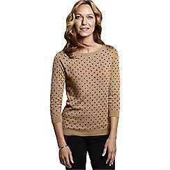 Lands' End - Beige women's supima reg three-quarter sleeve floral jacquard crew neck