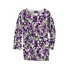 Lands' End - Purple women's fine gauge supima floral print crew neck