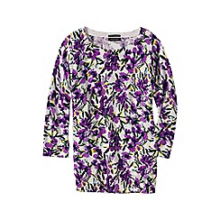 Lands' End - Purple women's plus fine gauge supima reg floral print crew neck