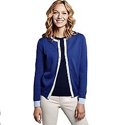 Lands' End - Blue women's colourblock supima reg fine gauge cardigan