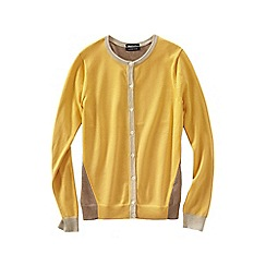 Lands' End - Gold colourblock supima reg fine gauge cardigan