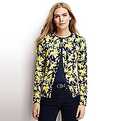 Lands' End - Yellow regular fine gauge supima print cardigan