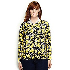 Lands' End - Yellow plus fine gauge supima print cardigan