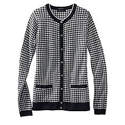 Lands' End - Black light weight fine gauge supima®jacquard cardigan
