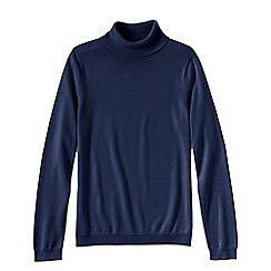 Lands' End - Blue women's supima long sleeve roll neck