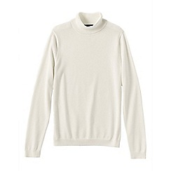 Lands' End - Cream women's supima long sleeve roll neck