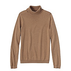 Lands' End - Beige women's supima long sleeve roll neck