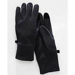 Lands' End - Black men's ez touch thermacheck 100 fleece gloves