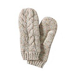 Lands' End - Cream women's chunky donegal cable mittens