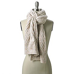 Lands' End - Cream women's chunky donegal cable scarf