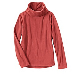Lands' End - Orange women's thermacheck 100 fleece roll neck