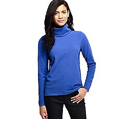 Lands' End - Blue women's thermacheck 100 fleece roll neck