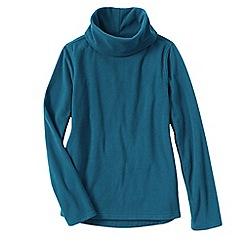 Lands' End - Blue women's thermacheck 100 fleece roll neck
