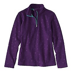 Lands' End - Purple little girls' embossed fleece half zip top