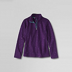 Lands' End - Purple girls' embossed fleece half zip top