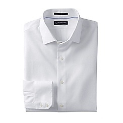 Lands' End - White men's tailored fit easy-iron royal oxford shirt