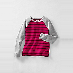 Lands' End - Pink girls' long sleeve stripe french terry sweatshirt