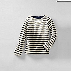 Lands' End - Cream little girls' boatneck fleece sweatshirt