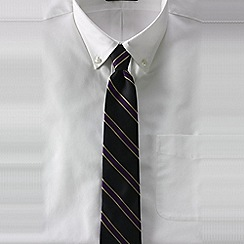 Lands' End - Black men's repp stripe hand-sewn silk/wool tie