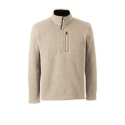 Lands' End - Beige sweater fleece half-zip pullover