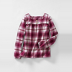 Lands' End - Red little girls' long sleeve shirred yoke flannel shirt