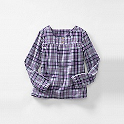 Lands' End - Purple little girls' long sleeve shirred yoke flannel shirt