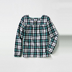 Lands' End - Blue little girls' long sleeve shirred yoke flannel shirt