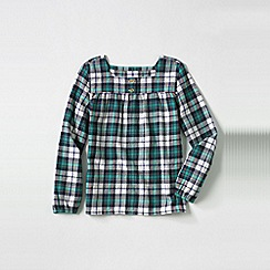 Lands' End - Blue girls' long sleeve shirred yoke flannel shirt