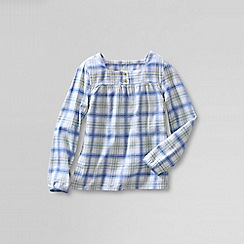 Lands' End - Multi girls' long sleeve shirred yoke flannel shirt