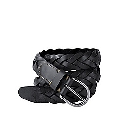 Lands' End - Black men's plaited leather belt